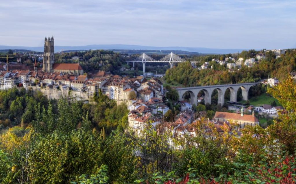 View of Fribourg, Switzerland, with Cathedral, Zähringen and Poya bridges
