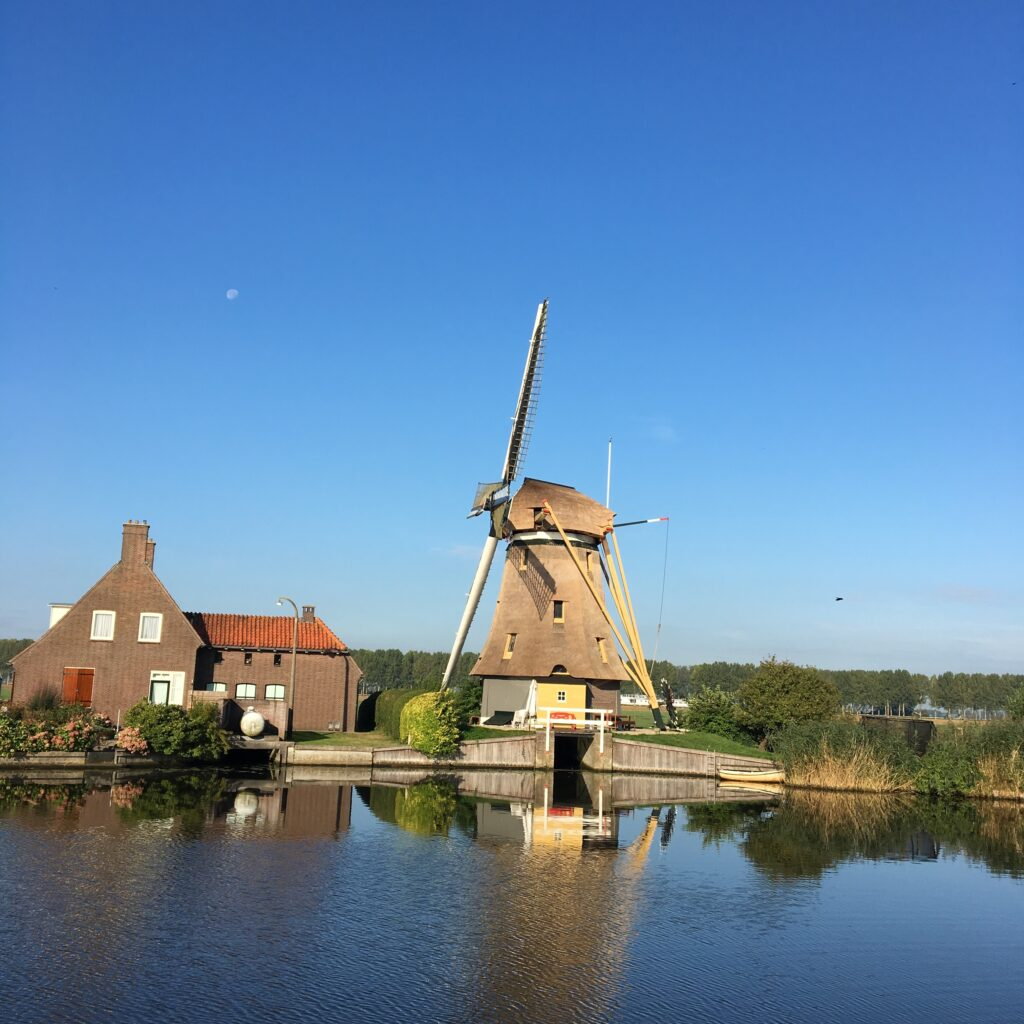 Windmill in Dutch river Vecht